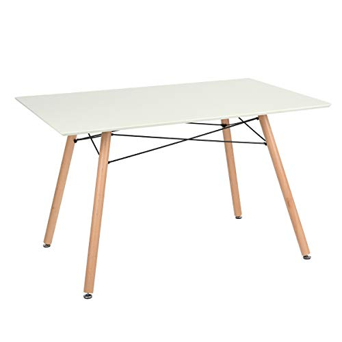 """Furniture-R France """"Maddie"""" Rechteckiger Esstisch für 2 bis 4Personen, skandinavisches Design, massiv, lackierte Beine aus Buche, 110 x 70 x 74cm, Holz, weiß, 110_x_70_cm"""