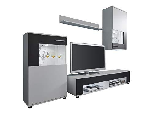 trendteam smart living  Wohnzimmer 4-teilige Set Kombination Corner/Jack, 229 x 175 x 39 cm in Weiß, Absetzung Schwarz ohne Beleuchtung