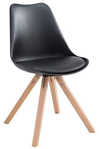 CLP Retro-Stuhl Toulouse Square Mit Kunstlederbezug   Kunstoff-Lehnstuhl Mit Holzgestell, Farbe:schwarz, Gestell Farbe:Natura