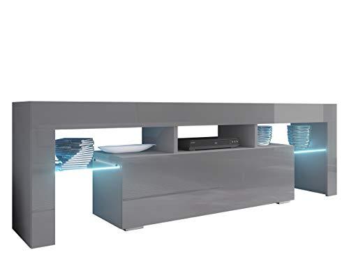 Mirjan24 TV Board Lowboard Toro 138, TV Lowboard mit Grifflose Öffnen, Unterschrank, Sideboard Mediaboard, Fernsehschrank, Mediaboard (mit Blauer LED Beleuchtung, Grau/Grau Hochglanz)