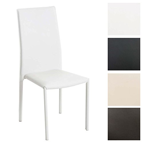 CLP Stapelstuhl Laurus mit hochwertiger Polsterung und Kunstlederbezug I Küchenstuhl mit Einer Sitzhöhe von: 47 cm I erhältlich Weiß