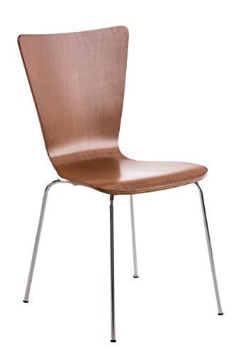 CLP Stapelstuhl AARON ergonomisch geformter Konferenzstuhl mit Holzsitz und stabilem Metallgestell   Platzsparender Stuhl mit pflegeleichter Sitzfläche   In verschiedenen Farben erhältlich Braun