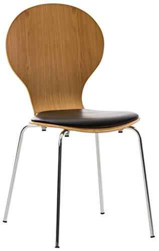 CLP Stapelstuhl Diego mit Kunstledersitz und stabilem Metallgestell I Platzsparender Konferenzstuhl mit ergonomisch geformter Sitzfläche, Farbe:Eiche/schwarz