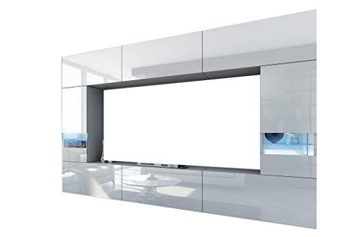 HomeDirectLTD Future 29 Moderne Wohnwand, Exklusive Mediamöbel, TV-Schrank, Schrankwand, TV-Element Anbauwand, Neue Garnitur, Große Farbauswahl (RGB LED-Beleuchtung Verfügbar) (29_HG_W_2, Möbel)