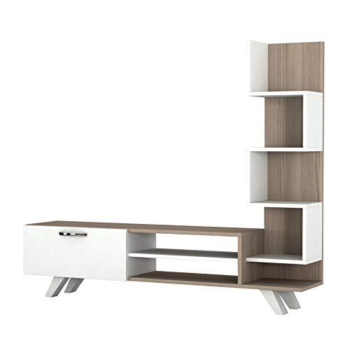 Alphamoebel TV Board Lowboard Fernsehtisch Fernsehschrank Sideboard, Fernseh Schrank Tisch für Wohnzimmer I Weiß Cordoba I Ceren 1773 I 149,5 x 22 x 131,6 cm