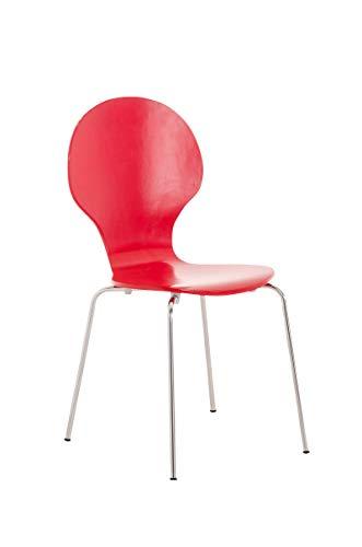 CLP Stapelstuhl Diego l Ergonomisch geformter Konferenzstuhl mit Holzsitz und Metallgestell I Stapelbarer Stuhl mit pflegeleichter Sitzfläche, Farbe:rot