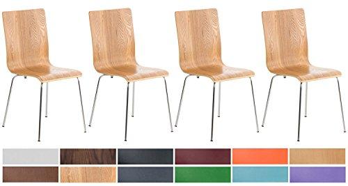 CLP 4er-Set Wartezimmerstuhl Pepe mit ergonomisch geformten Holzsitz und Metallgestell I 4X Konferenzstuhl erhältlich, Farbe:Eiche