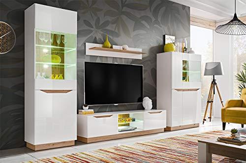 KRYSPOL Wohnwand Fame Anbauwand, Wohnzimmer-Set, Modern Design (Weiß Matt/Weiß Glanz + Eiche Artisan)