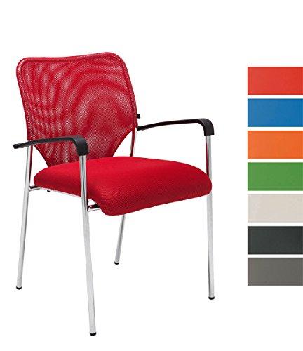 Lehnstuhl Cuba Stoff I Konferenzstuhl mit Armlehne und Metallgestell I Besucherstuhl Mit Polsterung, Farbe:rot