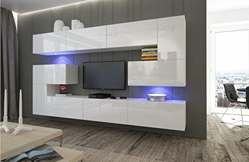 Home Direct Albania N3, Modernes Wohnzimmer, Wohnwände, Wohnschränke, Schrankwand (Weiß MAT Base/Weiß HG Front, LED RGB 16 Farben)