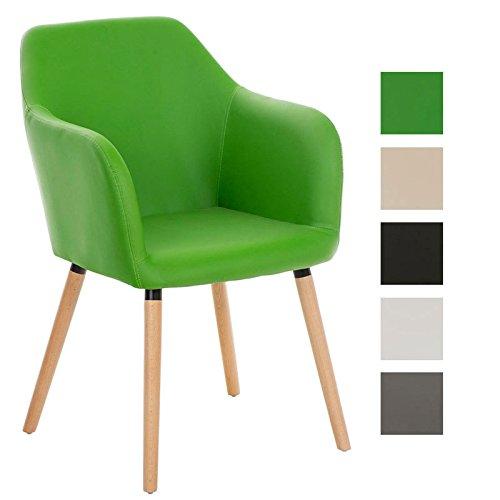 CLP Esszimmerstuhl Picard Mit Polsterung Und Kunstlederbezug I Retrostuhl Mit Sesselförmigem Sitz Und Holzgestell, Farbe:grün