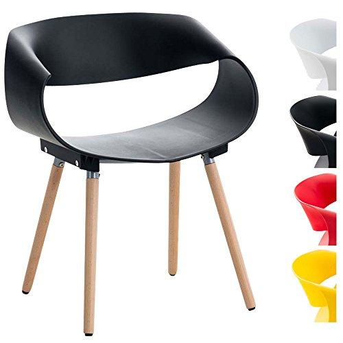 CLP Retrostuhl Tuva I Design Stuhl Mit Kunststoffsitzschale Und Gestell Aus Buchenholz Belastbar Bis 150 KG, Farbe:schwarz