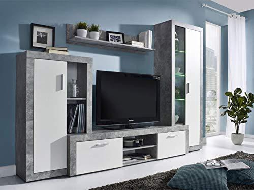 KRYSPOL Wohnwand BONO Anbauwand, Wohnzimmer-Set, Modern Design (Beton/Weiß, mit Blauer LED Beleuchtung)