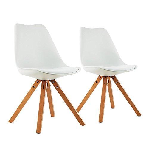 OneConcept Onassis - Schalenstuhl, Designstuhl, Retro-Stuhl, 2er-Set, 70er Jahre Retro Look, Maße ca 48 x 83,5 x53cm (BxHxT) pro Stuhl, breite Sitzfläche, hochwertige Hartplastik-Schale, weiß