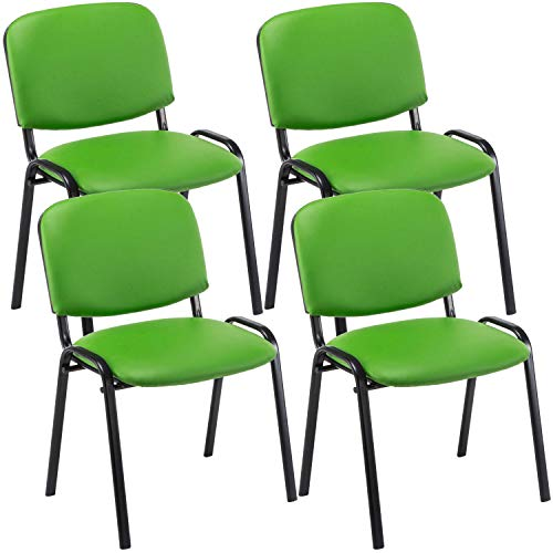 CLP 4er Set Besucherstuhl Ken Kunstleder I Stapelstuhl Mit Robustem Metallgestell I Polsterstuhl Mit Rückenlehne, Farbe:grün