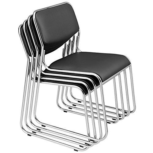 [pro.tec] Konferenzstuhl 4er Set Schwarz Stuhl Bürostuhl Wartezimmerstuhl Besucherstuhl