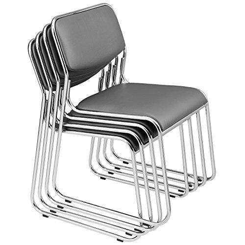 [pro.tec] Konferenzstuhl 4er Set Grau Stuhl Bürostuhl Wartezimmerstuhl Besucherstuhl