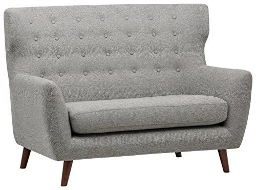 Amazon Marke -Rivet Hawthorne Modernes, getuftetes Zweisitzer-Sofa im Stil der 1950er Jahre, B 145cm, Silber