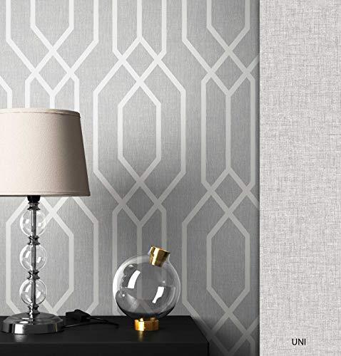 NEWROOM Tapete grafisch grau Linien Retro Papiertapete Papier Tapete Geometrisch Art Deco inkl. Tapezier Ratgeber ǀ Grafik